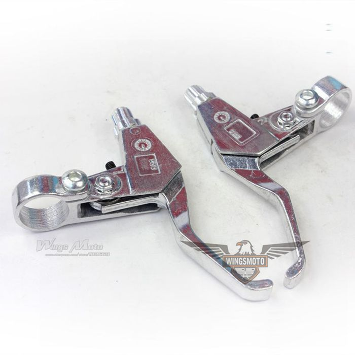 RIGHT + LEFT BRAKE LEVER 43 47 49CC GAS SCOOTER MINIMOTO POCKET BIKE SILVER