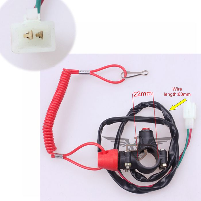 DOUBLE KILL SWITCH SAFETY WIRE WITH ROPE KID ATV DIRT BIKE SCOOTER