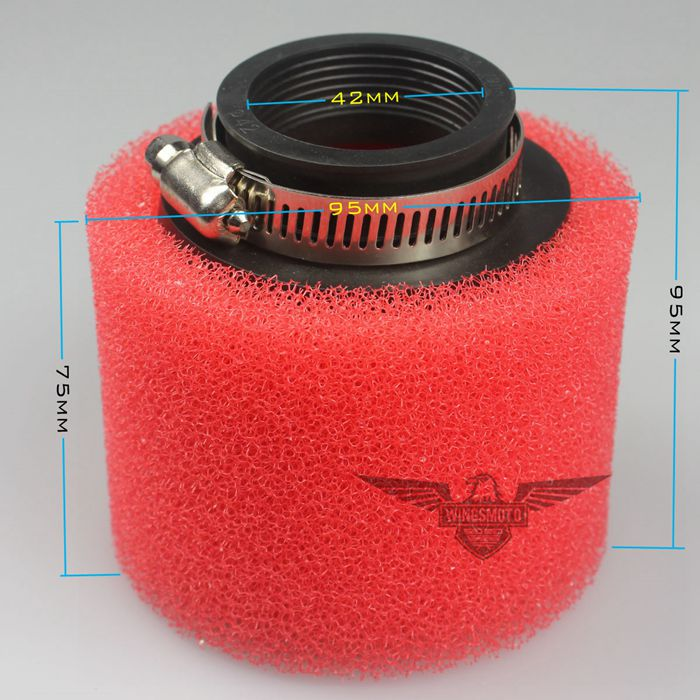 Red Air Filter 42mm Foam Cleaner 125 Moped Scooter 140cc 200cc CRF KLX Pit Dirt Bike
