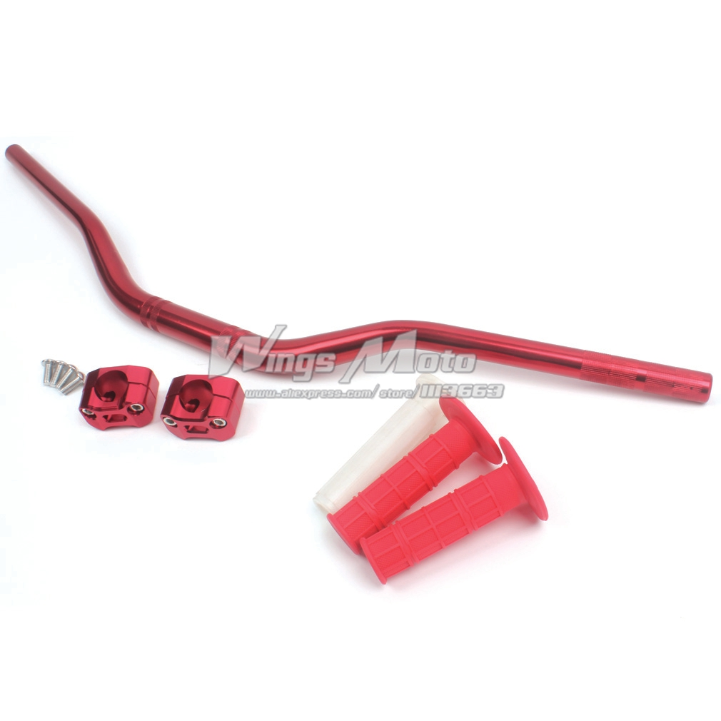 "Red 28mm 1 1/8"" Motorcycle Fat Handlebar Handle + CNC Mounting Clamp Adaptor + Soft Grips"