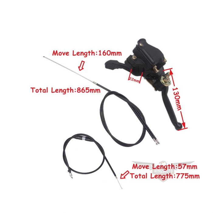 49cc Mini ATV Kid Quad Thumb Throttle Assy + Throttle Cable + Brake Cable